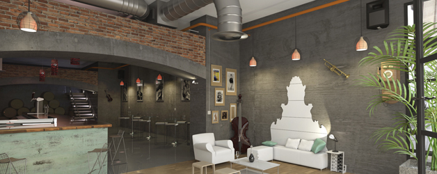 proyecto 3d local comercial cafeteria